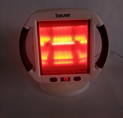 Beurer IL50 Infrared Heat Lamp front switched on