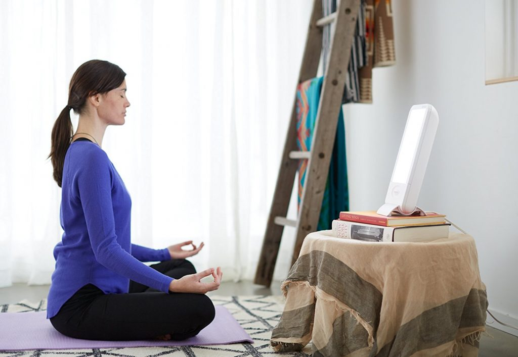 Verilux HappyLight Liberty 10,000 LUX Light Therapy Energy Lamp in use while meditating